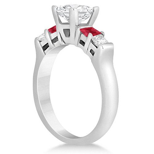 Princess-Square-Cut-Five-Stone-Diamond-and-Ruby-Engagement-Ring-Palladium-046ct