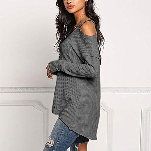 Sexy Top Top Chemisier Femme Automne Casual Longues dnudes Subfamily Tee Epaules Shirt Longues Manches Manches Gris Blouse CgBXwwq