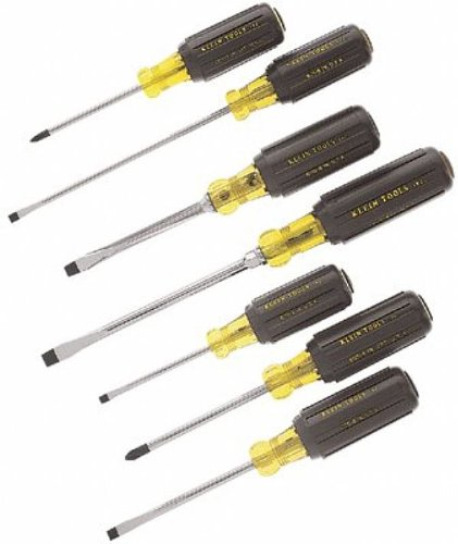 Cushion Grip Slotted Screwdrivers - Klein Tools 7 Pc. Cushion-Grip Screwdriver Sets, Phillips Keystone Slotted