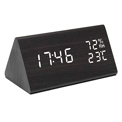 perfeo Wooden Digital Alarm Clock with Time, Date and Temperature Display, Wood LED Clock with 3 Levels Brightness, 3 Alarm Settings and Sound Control, for Kids, Bedrooms, Home and Dormitory