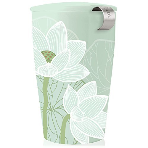 Loose Tea Accessories - Tea Forté KATI Cup Ceramic Tea Brewing Cup with Infuser Basket and Lid for Steeping, Loose Leaf Tea Maker, Lotus