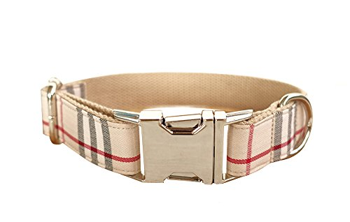 ZEEY Adjustable Nylon Dog Collar Khaki Plaid Pattern, Zinc Alloy Metal Easy to Use Buckle Dog Collar in 5 Different Sizes with Metal Dog Leash Hook (M Neck Size 42-48cm)