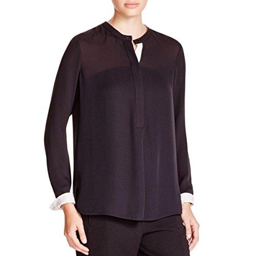 Vince Womens Silk Back Pleat Blouse Black S