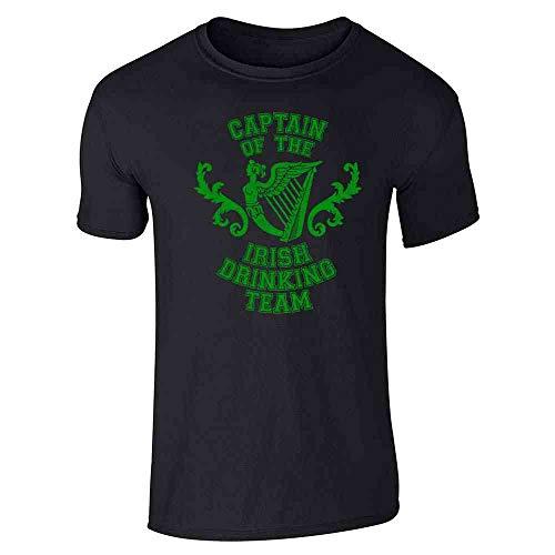(Pop Threads Captain of The Irish Drinking Team St Patricks Day Black L Short Sleeve T-Shirt)