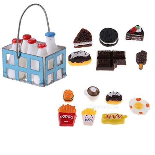 NATFUR 1/12 Miniature Milk Bottles Basket Food for Dolls House Kitchen Groceries from NATFUR