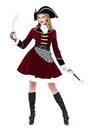 Women's Captain Hook Costume with Hat Large Red