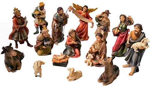 Faithful Treasure 15-Piece Nativity Figurine Set. Hand-Painted Christmas Nativity Scene, 4