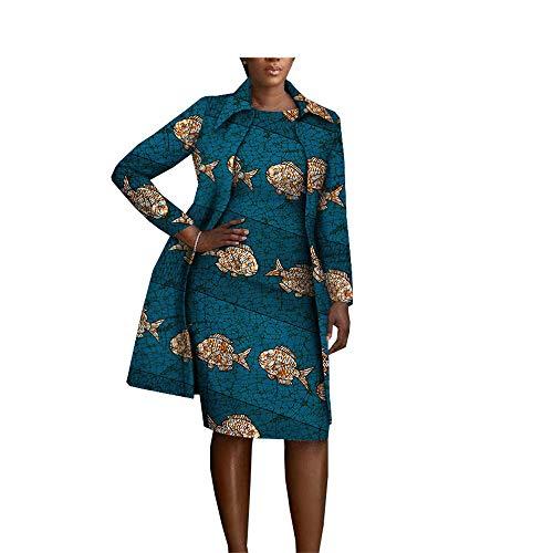 - African Clothing 2 Pieces Set for Women Coat Jacket+Sleeveless Knee Length Dress Set 413 2X