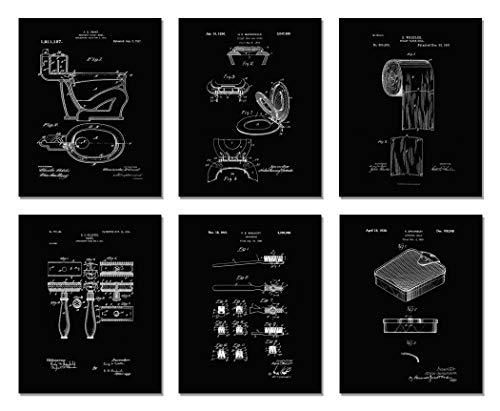 The Print Archives Bathroom Patent Prints - Wall Art - Set of Six Photos - Black Unframed (8 x - Archive Toilet