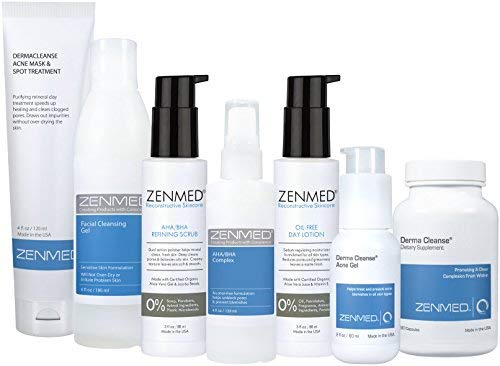 Acne Kit Complex - ZENMED Complete Acne Kit with Facial Cleansing Gel, Acne Gel, Acne Mask, Oil-Free Lotion, AHA/BHA Complex, AHA/BHA Scrub Plus More