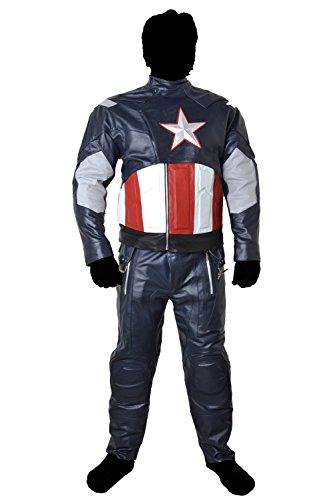 Captain America Avengers Cow hide Leather Suit Jacket & Pants Armour (5XL) (Captain America Costume Walmart)
