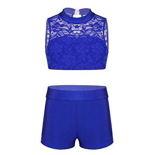 CHICTRY Kids Girls Racer Back Top and Shorts Love Dance Sets for Gymnastics Leotard Dancing Lace Floral Blue ()