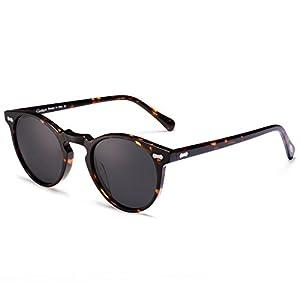 Vintage Round Sunglasses - Carfia Polarized Sunglasses for Women Men, 100% UV400 Protection (Tortoise frame with grey lens, Multicoloured)