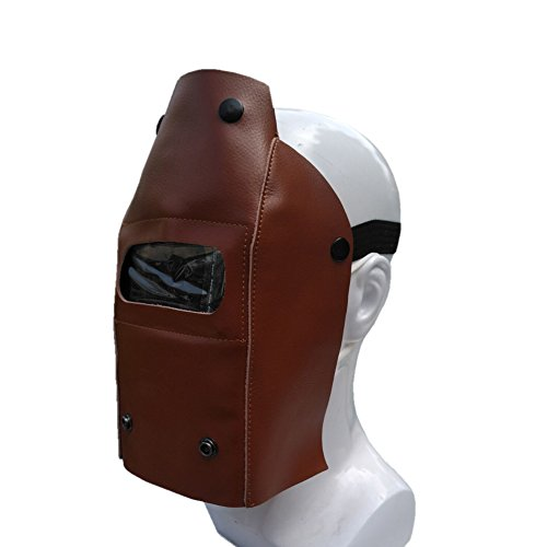 Profession Welding Helmet Whole Piece Leather Protective Gear Mask Work Cap Cowhide Mask Welding Hood Helmet Roll-Up with Button Easy to Carry DHMZ05 (coffee)