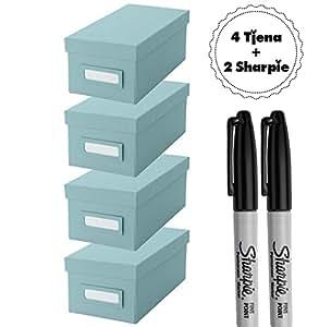 Ikea tjena caja de organizaci n con tapa cajas de azul for Cajas almacenamiento ikea