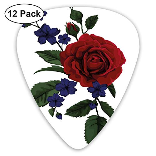 Guitar Picks 12-Pack,Valentines Rosebud With Little Blossoms Love Passion Theme Artful