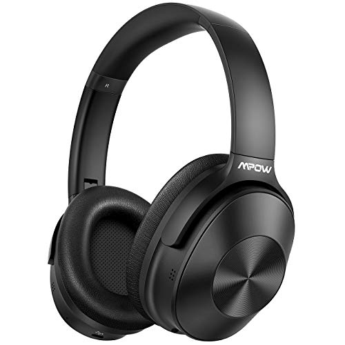 Mpow H12 Hybrid Active Noise Cancelling Headphones, Bluetooth Headphones Over Ear [2019 Version] with Hi-Fi Deep Bass, CVC 6.0 Microphone, Soft Protein Earpads, 30H Playtime for TV Travel Work (Best Headphones For Bass And Noise Cancelling)