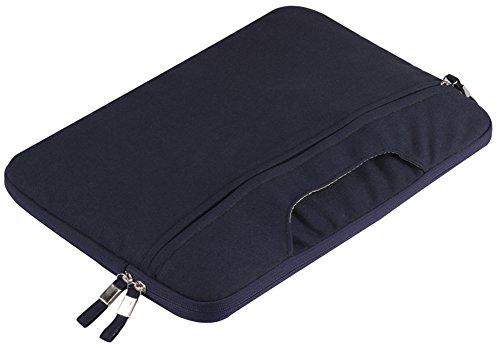 YiJee Color Sólido Tela de Lona Funda Bolso Sleeve para Ordenador Portátil / Macbook de 11-15 Pulgadas 15 Inch Armada