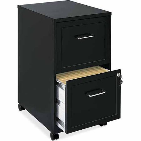 Lorell Steel Mobile File Cabinet, 2-DR, 14-1/4x18x24-1/2, BK