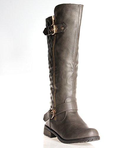 Forever Mango-21 Women's Winkle Back Shaft Side Zip Knee High Flat Riding Boots Grey ()