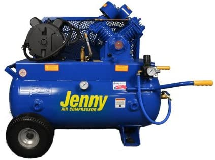 30 Gallon Tank 230V Jenny G3A-30 Single Stage Horizontal Corded Electric Powered Stationary Tank Mounted Air Compressor with G Pump 1 Phase 3 HP