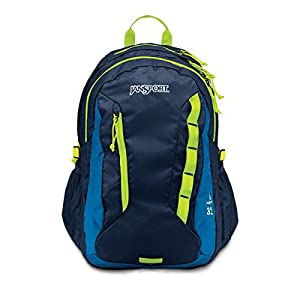 JanSport Mens Outdoor Mainstream Agave Backpack - Jansport Navy/Lime Punch / 19H X 13.5W X 10D
