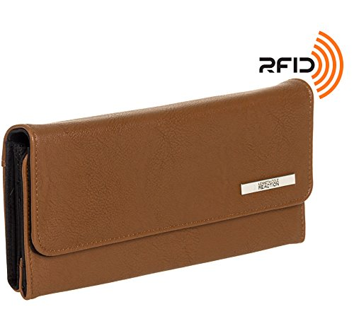 Tri Clutch Zip - Kenneth Cole Reaction RFID Tri-ed & True Trifold Clutch Wallet (Buff Earth)