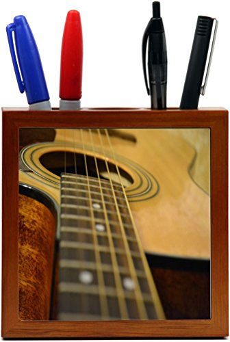 Rikki Knight Acoustic Guitar Design 5-Inch Wooden Tile Pe...