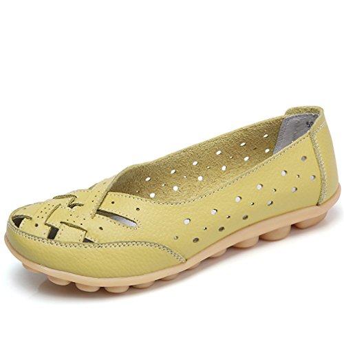 de Holgazanes Casual Slip Lady Mujer mujer On Shoe Boat Mujer Genuino Tamaño Bridfa grande Zapatos Cuero Pisos Verde 5qpPwP