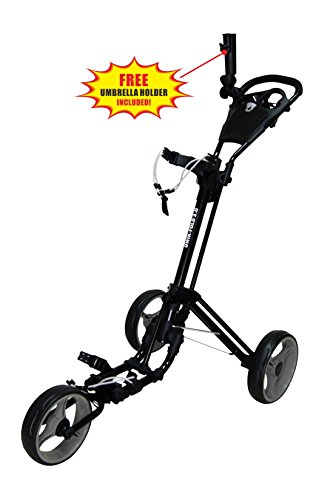 Golf Push Pull Carts - Qwik-Fold 3 WHEEL PUSH PULL GOLF CART - FOOT BRAKE - ONE SECOND TO OPEN & CLOSE! (Black/Charcoal)