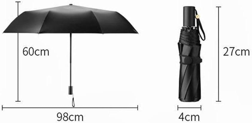 YSLJH Lightweight Folding Travel Umbrella Black Double-Layer Sun Protection UV Protection Three-fold Umbrella Anti-Skid Handle Unisex