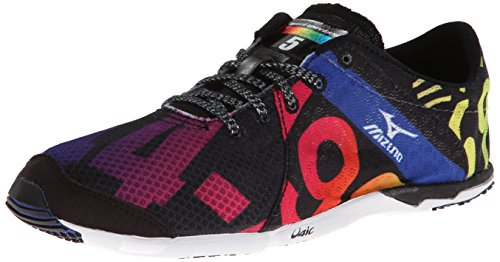Mizuno Womens Wave Universe 5 Competition Running Flat Black / White / Rainbow