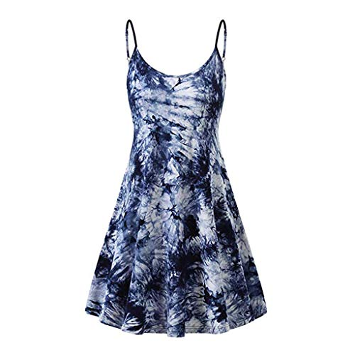 Sunhusing Women's Simple Gradient Color Tie Dyed Print Sleeveless Sling High Waist Above Knee Camis Dress (S, Blue)