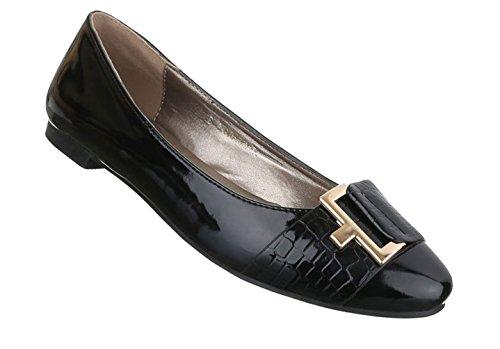 Damen Ballerinas Schuhe Loafers Slipper Slip-on Flats Pumps Schwarz 36 37  38 39 40 ca50625aa1