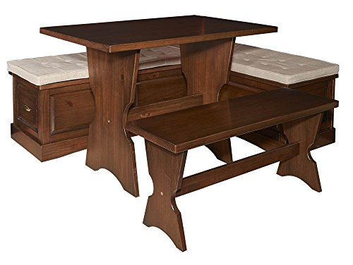 3-Pc Kitchen Nook Dining Set in Walnut Finish