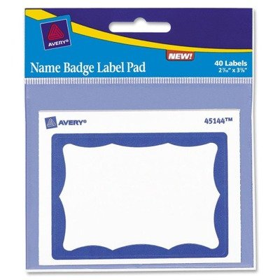 Name Badge Label Pads - 4 x 3, Blue/White, 40/Pack(sold in packs of 3)