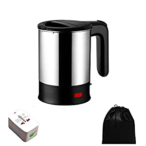 Electric Travel Kettle Dual Voltage, Electric Kettle Small, Stainless Steel Hot Pot With Free Universal Adapter - Suitable For Boiling Water & Eggs Heating Milk