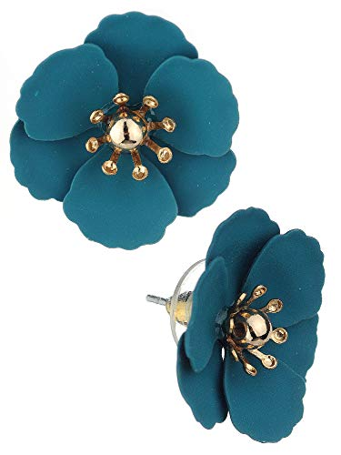 Women's Metal Matte Flower Petal Stud Pierced Earrings, Teal Green ()