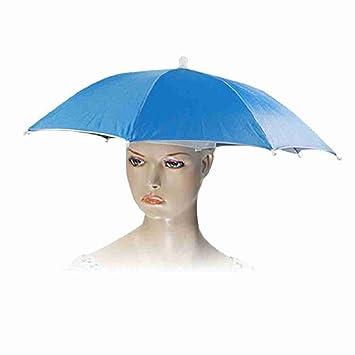 Mover y pesca Golf playa manos libres móviles sombrero paraguas de acero azul