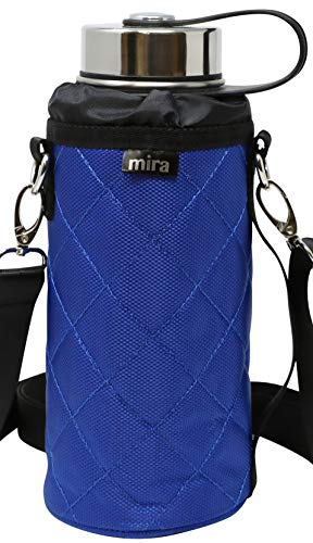 MIRA Water Bottle Carrier for 32 oz Wide Mouth Vacuum Insulated Stainless Steel Bottles   Fits, Hydro Flask, Camelbak, Takeya and Other Wide Mouth Bottles   Blue Ballistic ()