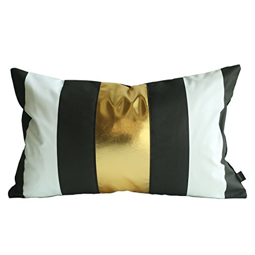 Kdays Black Gold Stripe Pillow Cover Designer Modern Throw Pillow Cover Decorative Faux Leather Pillow Cover Handmade Cushion Cover 12x20 Inches