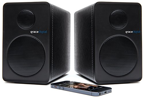 "Grace Digital 3-1/2"" 36W Bluetooth Bookshelf Speakers (Pair) Black GDI-BTSP201"