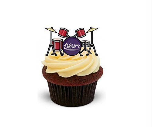 Drums-Musical-Instrument-Standups-12-Edible-Standup-Premium-Wafer-Cake-Toppers-2-x-A5-sheet-12-images