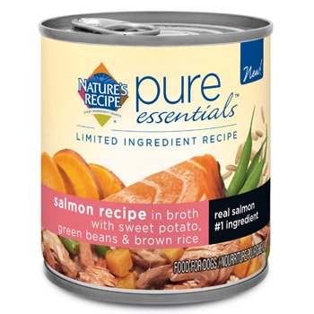 Nature's Recipe Pure Essentials Salmon in Broth Wet Dog Food, 10 oz., Case of 24
