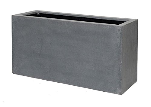 Grey Flower Pot Modern Rectangular Balcony Planter Box, 20''H x 16''W x 39''L - By Pottery Pots - The Essentials series by Pottery Pots