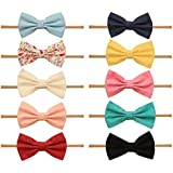 Baby Girl Headbands and bows - Nylon Headband Fits newborn toddler infant girls (Bow Tie Collection Mix)