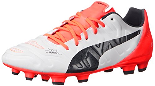 PUMA Men's Evopower 3.2 Firm Ground Soccer Shoe, White/Total Eclipse/Lava Blast, 13 M US