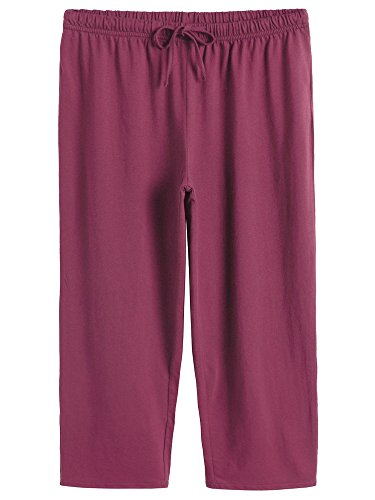 Latuza Women's Cotton Capri Pants Sleep Capris XL Wine Red
