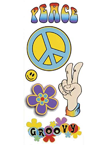 6 Large Groovy Hippie 60s 70s Costume Temporary Tattoos from Defonia Costume