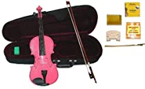 GRACE 1/10 Size Pink Acoustic Violin with Case+Rosin+2 Sets Strings+2 Bridges+2 Bows+Tuner